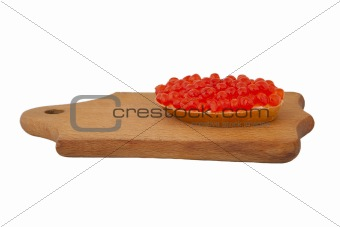 Bread and red caviar