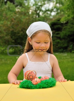 Little girl enjoying Easter time