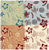 vector seamless backgrounds with vintage  flowers