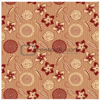 vector seamless background with vintage  flowers