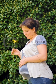 Pregnant woman holding her belly and yellow flower