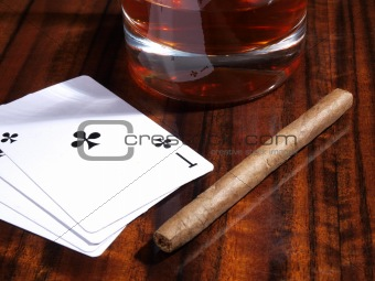Cigars and playing cards