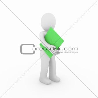 3d human letter green