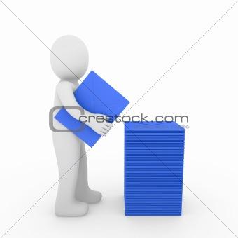 3d human letter mailbox paper blue