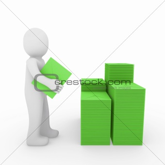3d human letter mailbox green