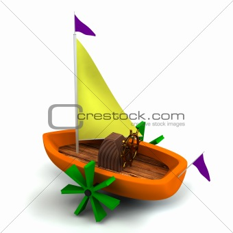 Toy boat isolated on white