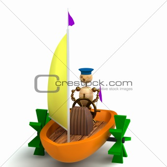 3d wood man on toy boat isolated on white