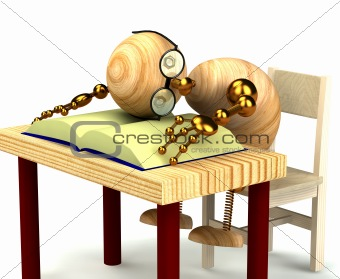 3d wood man sleeping on the book isolated on white