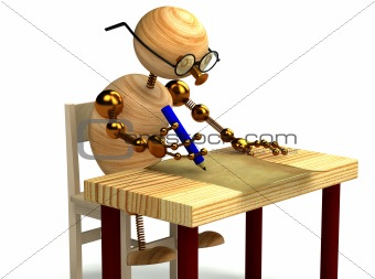 3d wood man is writing a letter isolated