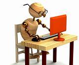 3d wood man working at computer