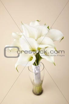 Bridal bouquet in a glass vase