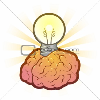Brain Lightbulb Idea Vector Illustration