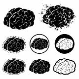 Brain Silhouette and Grunge Vector Illustration