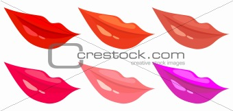 vector set of images of women's lips in different colors