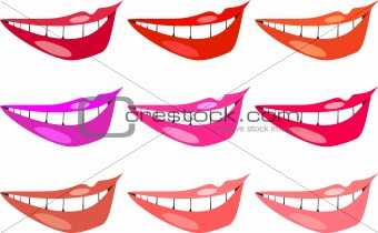 vector set of images of women&#39;s lips in different colors