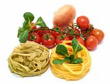 Italian pasta tagliatelle with vegetables
