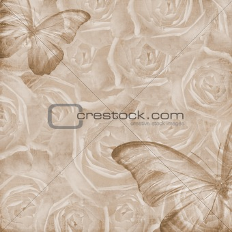 Grunge Beautiful Roses Background with butterfly ( 1 of set)