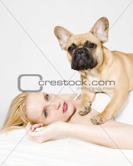beautiful young woman with her dog