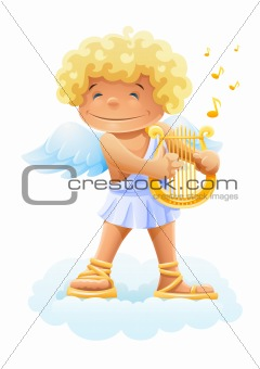 smile cupid playing lyre