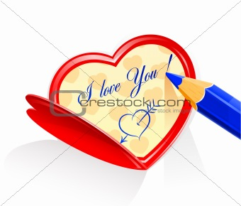 valentine as heart and pensil