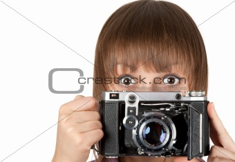 Portrait young girl with old analog photo by camera