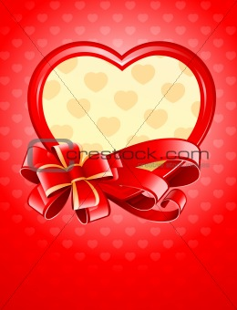 valentine as heart with bow