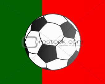 Flag of Portugal and soccer ball