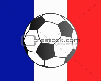 Flag of France and soccer ball