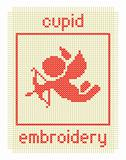 embroidery with cupid and frame