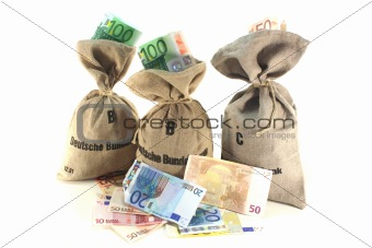 Money bags with Euros