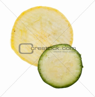 Slice of Fresh Yellow Squash and Zucchini