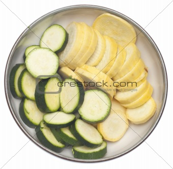 Bowl of Sliced Squash and Zucchini