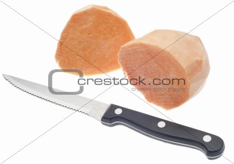 Sliced Sweet Potatoes with Knife