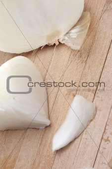 Sliced White Onions on a Wooden Chopping Block