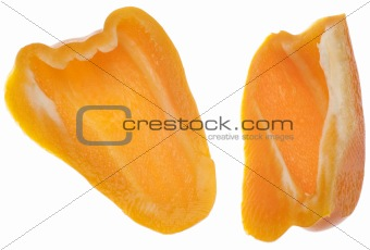 Pair of Sliced Orange Bell Peppers