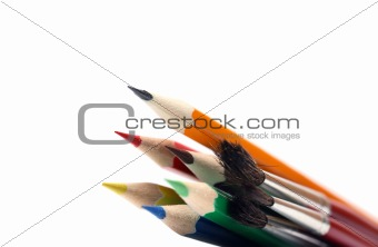 Paintbrushes and color pencils