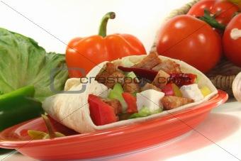 Wrap with turkey strips