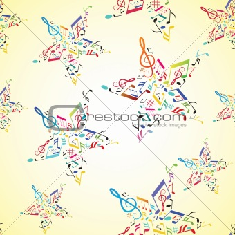 Music seamless background with note inside star