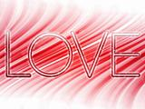 Valentine Day Love Word Abstract Colorful Waves on White Background