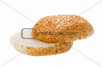 Cutting bun with sesame seeds