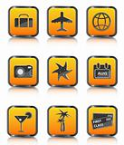 orange travel icon luggage airplane palm cocktail