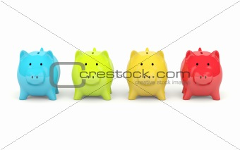 Four colors piggy bank