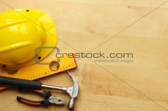 hard hat and tool