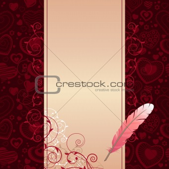 Frame with hearts and feather