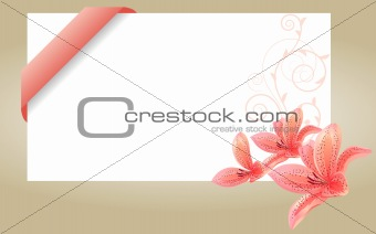 Blank white card with pink ribbon