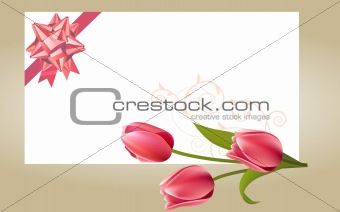 Blank white card with pink bow