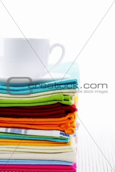 kitchen towels and cup of tea or coffee
