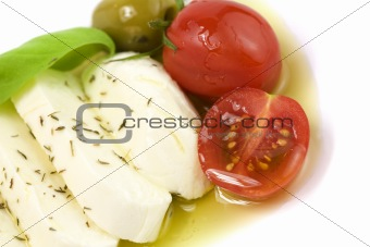 italian tomato mozarella close up