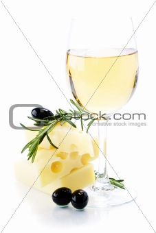 Olives, cheese and white wine