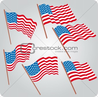 Six USA flags